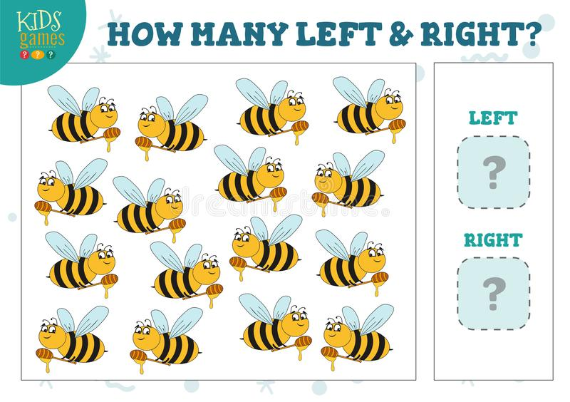 Hoeveel linker en juiste jonge geitjes die van beeldverhaalbijen spel vectorillustratie tellen stock illustratie