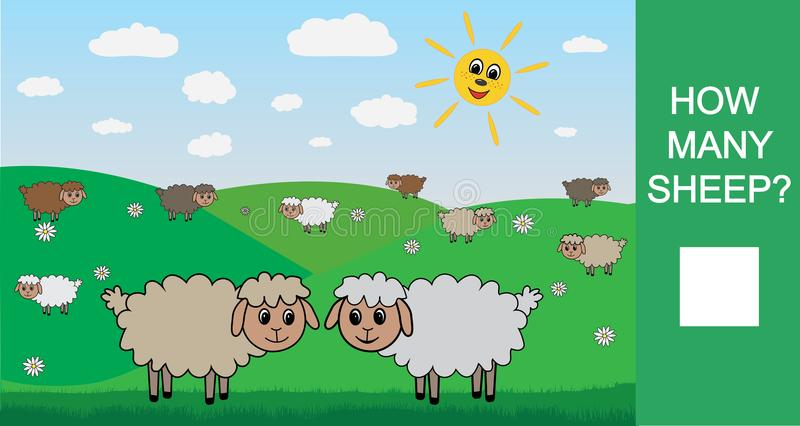 Hoeveel schapen, tellend spel voor kinderen Het leren aantallen, wiskunde Vector illustratie vector illustratie