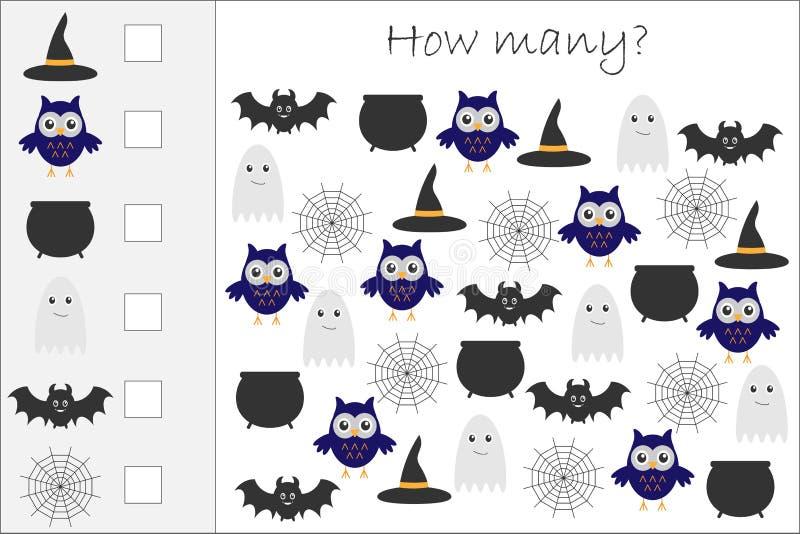 Hoeveel tellend spel met Halloween-beelden voor jonge geitjes, onderwijswiskundetaak voor de ontwikkeling van het logische denken stock illustratie