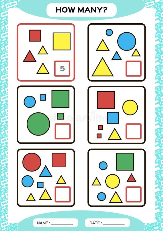 Hoeveel Tellend Spel voor Peuterkinderen Onderwijswiskundespel Tel de vormen in het beeld en schrijf stock illustratie
