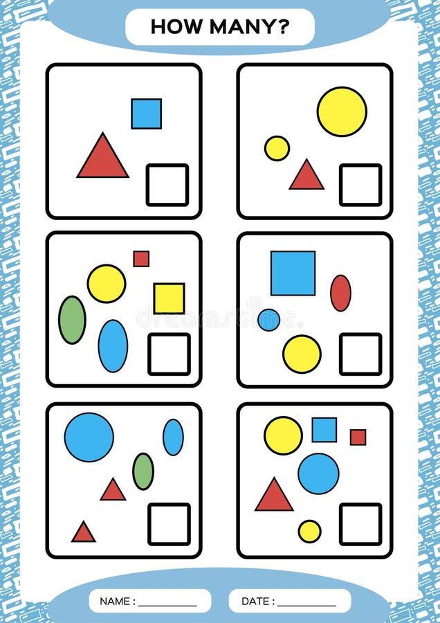 Hoeveel Tellend Spel voor Peuterkinderen Onderwijswiskundespel Tel de vormen in het beeld en schrijf vector illustratie