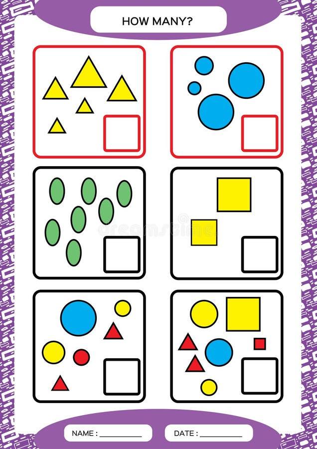 Hoeveel Tellend Spel voor Peuterkinderen Onderwijswiskundespel Tel de vormen s in het beeld en schrijf vector illustratie