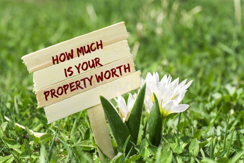 Hoeveel uw bezit met een waarde van is stock afbeelding
