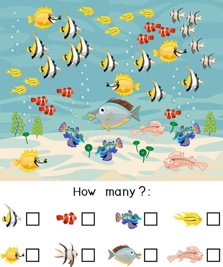 Hoeveel verschillende zeevissen Het tellen van onderwijsspel met verschillende overzeese dieren voor jonge geitjes vector illustratie