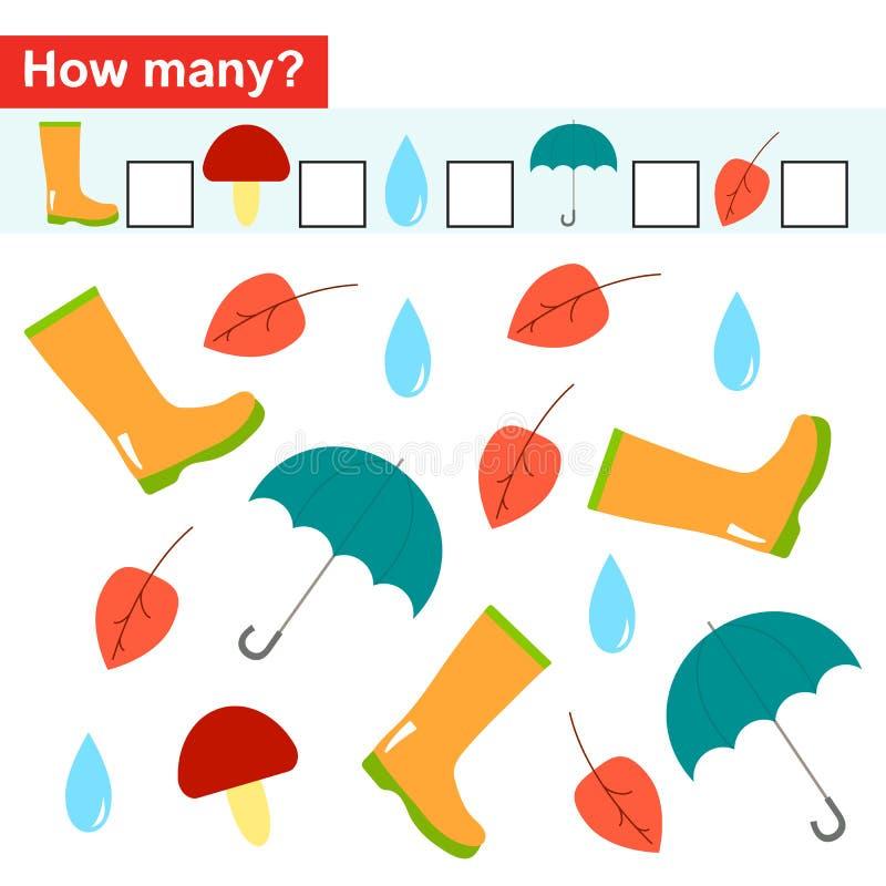 Hoeveel voorwerpen Tellend Spel voor Peuterkinderen vector illustratie