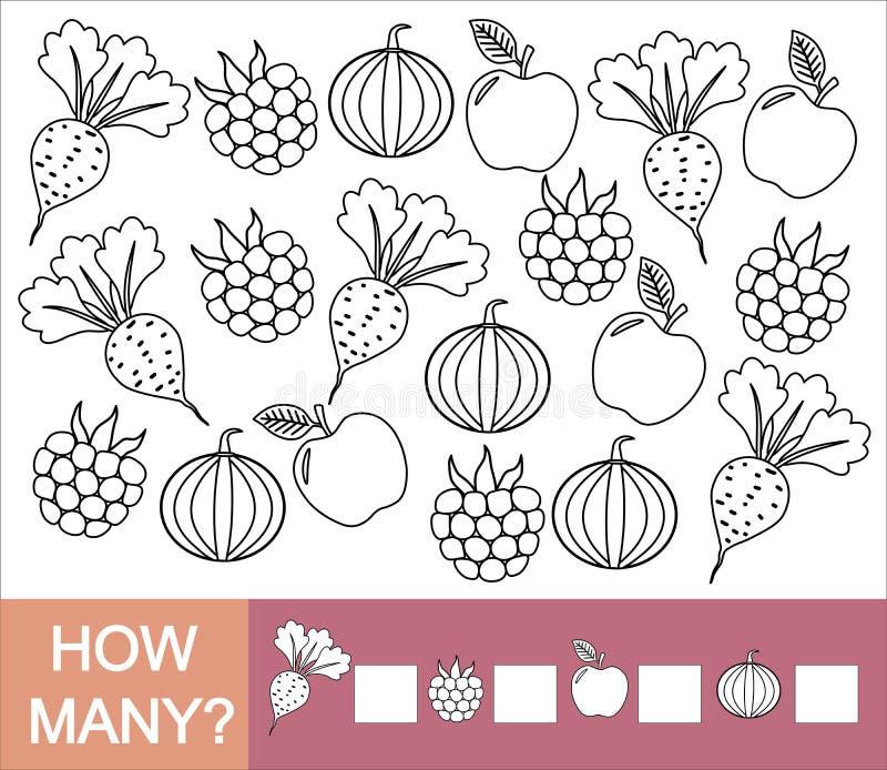Hoeveel vruchten, bessen en groentenappel, braambes, biet, pompoen vector illustratie