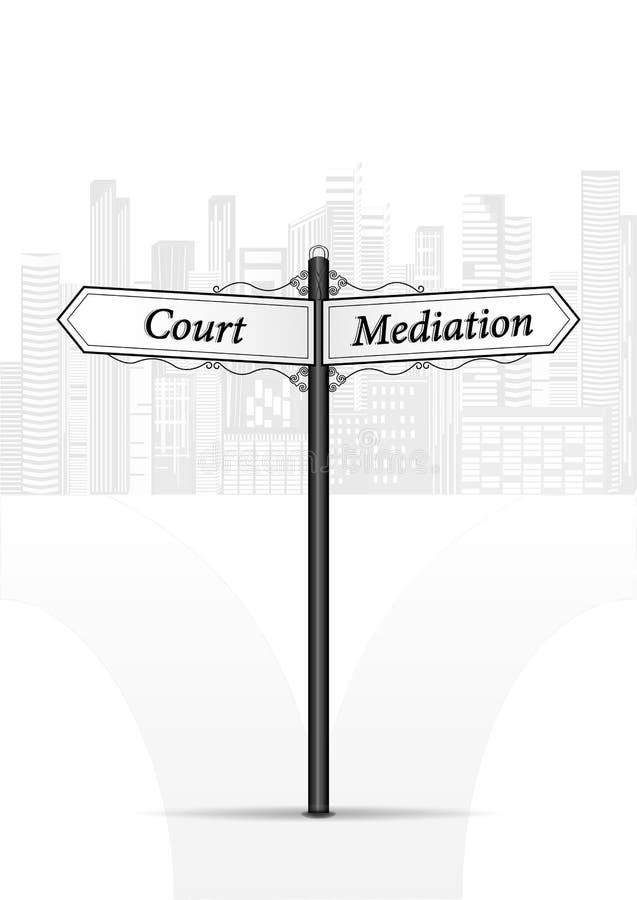 Hof bemiddeling waymark op witte cityscape vectorillustratie als achtergrond vector illustratie