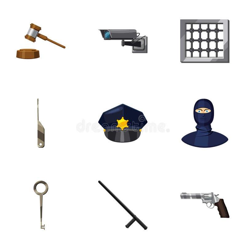Hof besluit geplaatste pictogrammen, beeldverhaalstijl stock illustratie