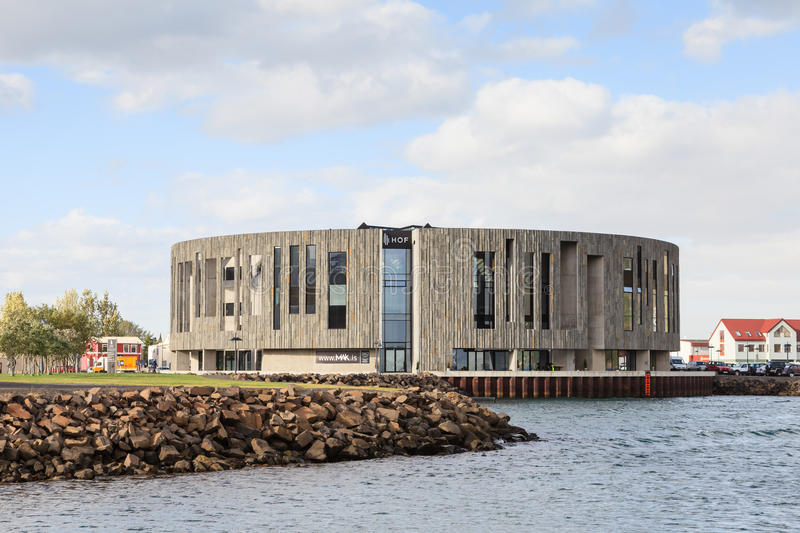 The HOF Cultural and Conference Center. Opened in 2010, is in the city of Akureyri, Iceland stock photos