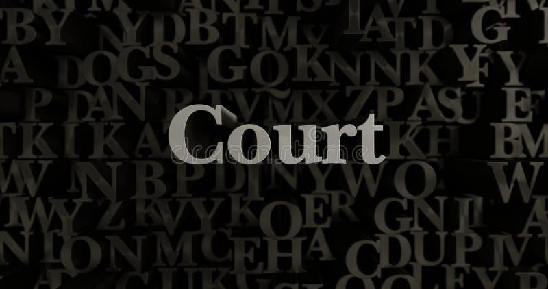 Hof - 3D teruggegeven metaal gezette krantekopillustratie royalty-vrije illustratie