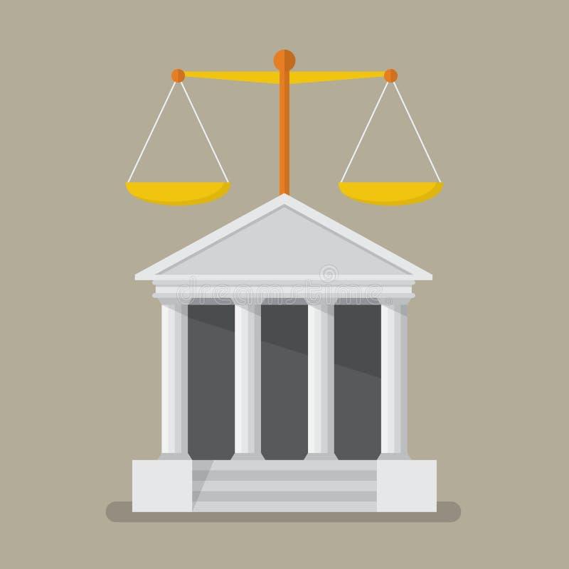 Hof de bouw met schalen van rechtvaardigheid stock illustratie