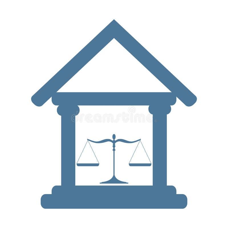 Hof de bouwpictogram met schalen van rechtvaardigheid stock illustratie