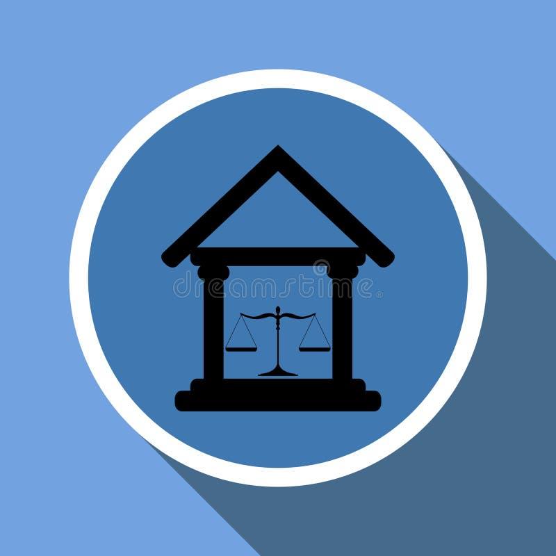 Hof de bouwpictogram met schalen van rechtvaardigheid in een cirkelkader met lange schaduw vector illustratie
