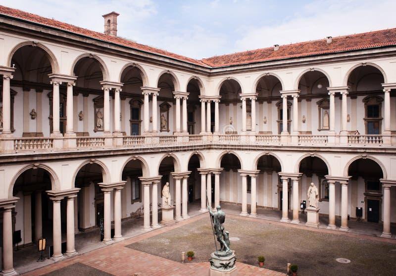 Hof des Brera Palastes in Mailand. lizenzfreies stockfoto