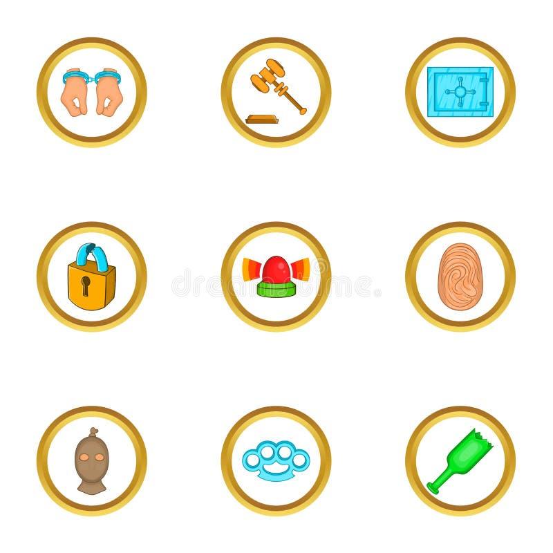 Hof geplaatste pictogrammen, beeldverhaalstijl stock illustratie