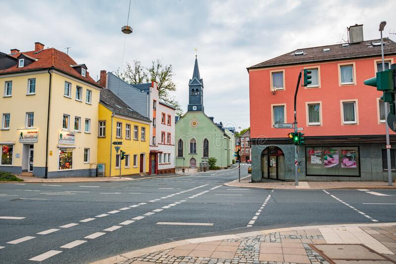 Altstadt street in old town of Hof stock photography