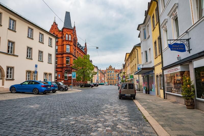 Altstadt street in old town of Hof royalty free stock image