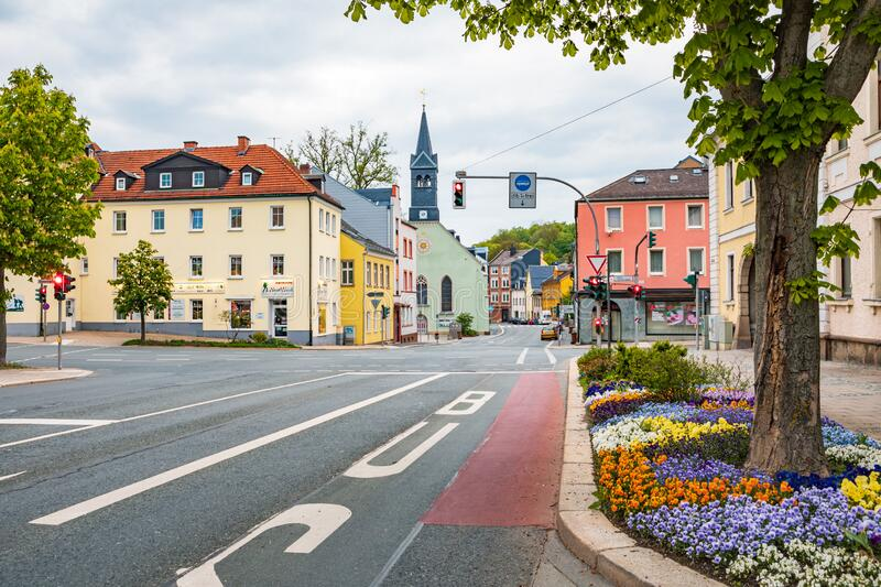 Altstadt street in old town of Hof stock photo