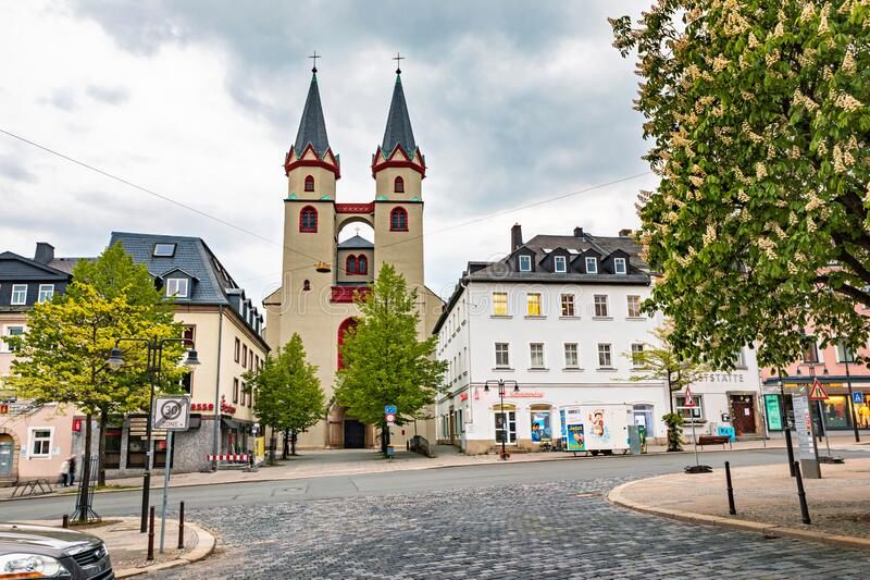 Altstadt street in old town of Hof royalty free stock photo