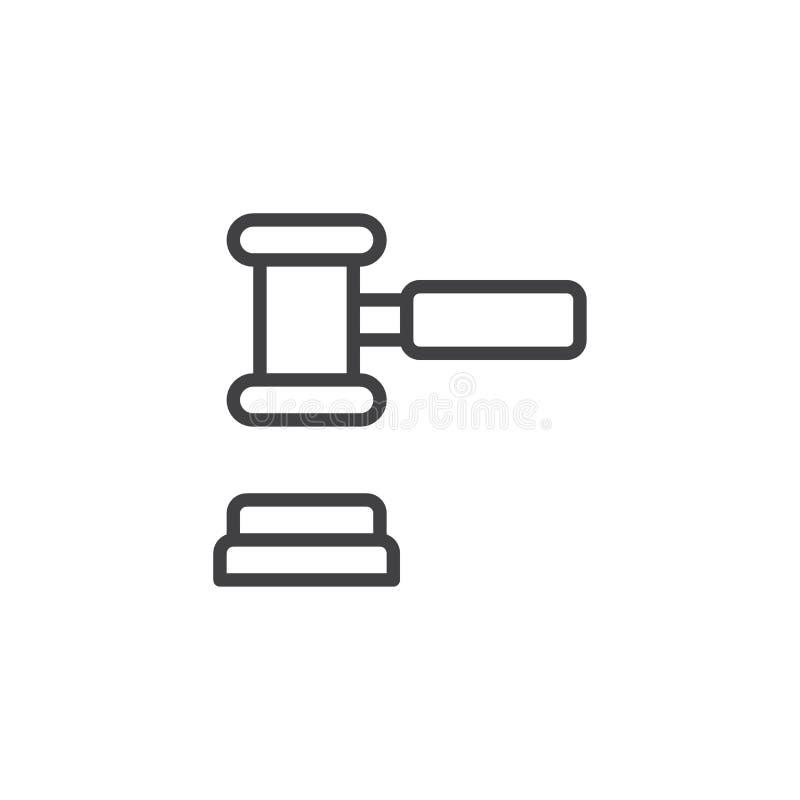 Hof het pictogram van de hamerlijn vector illustratie