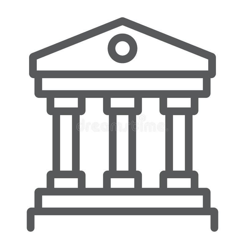 Hof het pictogram van de huislijn, instelling en architectuur, de bankbouw teken, vectorafbeeldingen, een lineair patroon op een  vector illustratie