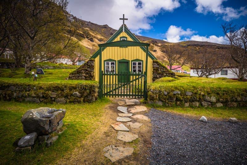 Hof - May 05, 2018: Turf church in the town of Hof, Iceland stock photo
