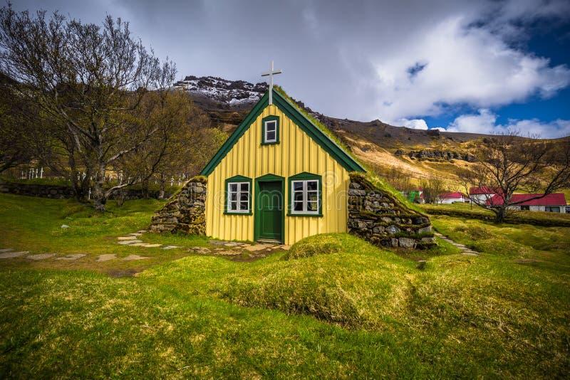 Hof - May 05, 2018: Turf church in the town of Hof, Iceland stock photos