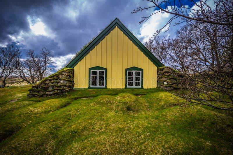 Hof - May 05, 2018: Turf church in the town of Hof, Iceland royalty free stock image
