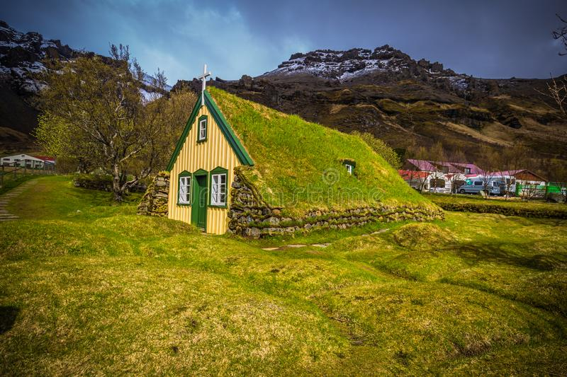 Hof - May 05, 2018: Turf church in the town of Hof, Iceland royalty free stock images