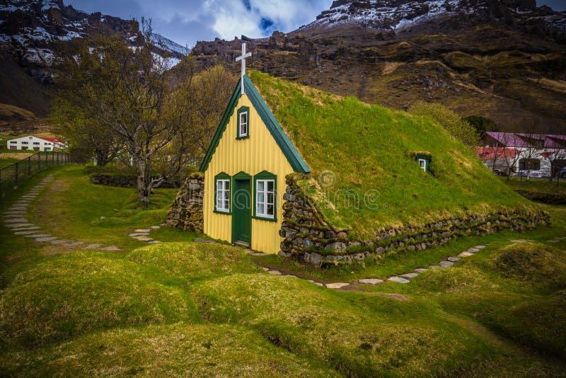 Hof - May 05, 2018: Turf church in the town of Hof, Iceland stock image