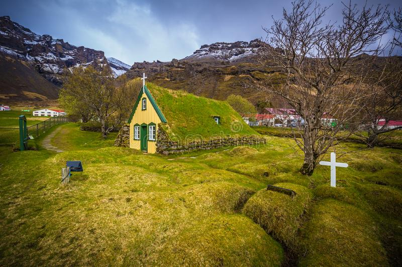 Hof - May 05, 2018: Turf church in the town of Hof, Iceland royalty free stock photography