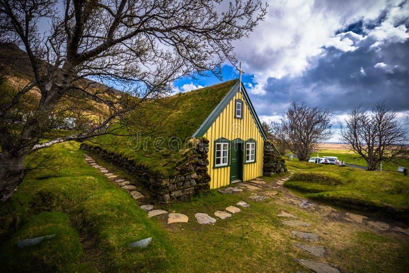 Hof - May 05, 2018: Turf church in the town of Hof, Iceland royalty free stock photos