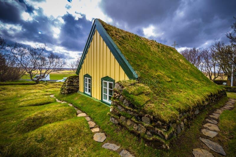 Hof - May 05, 2018: Turf church in the town of Hof, Iceland stock images