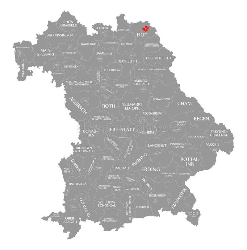 Hof miasto podkreślający w mapie Bavaria Niemcy ilustracja wektor