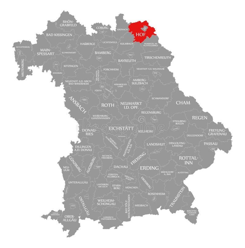 Hof okręgu administracyjnego czerwień podkreślająca w mapie Bavaria Niemcy ilustracji