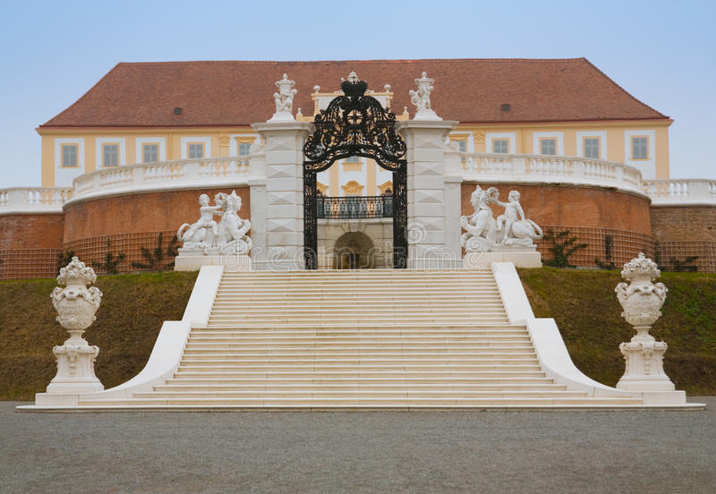 Hof palace in austria. Back gate from gardens stock images