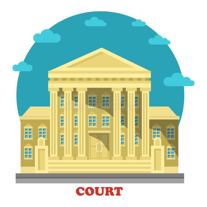 Hof of rechtbank, de buitenkant van de gerechtsgebouwingang vector illustratie