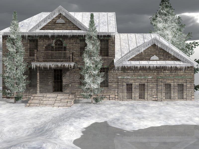 Hof in sneeuwvallei royalty-vrije illustratie