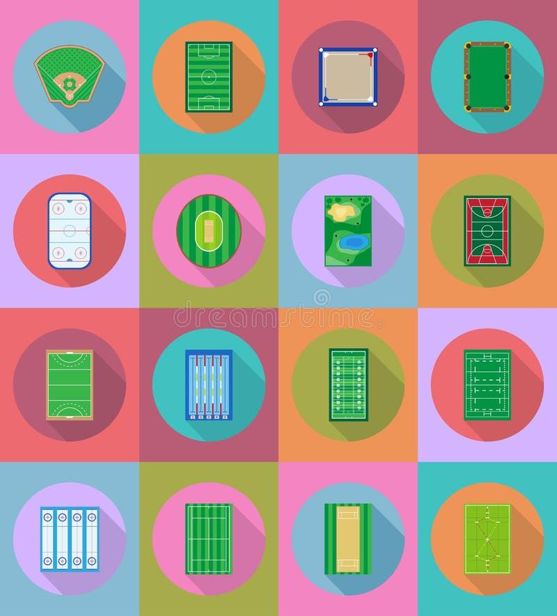 Hof speelplaatsstadion en gebied voor vlakke pictogrammen v van sportenspelen royalty-vrije illustratie