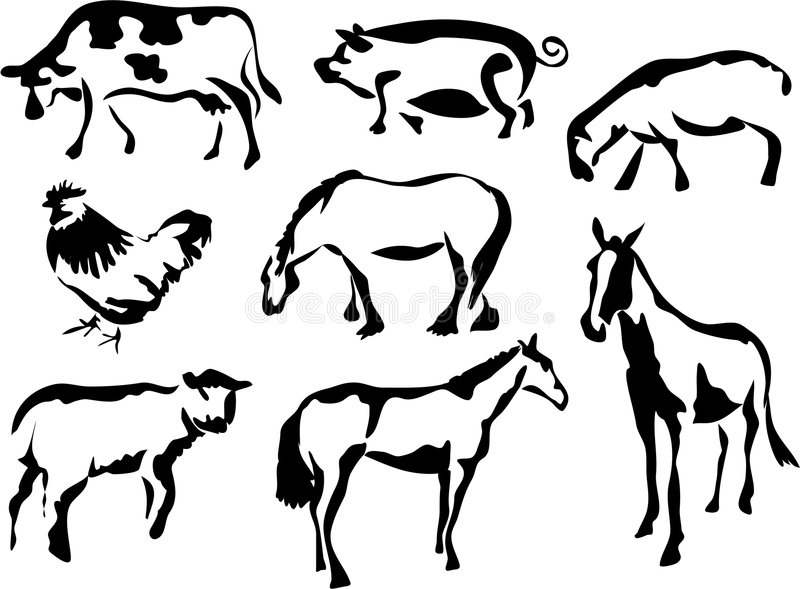Hof-Tiere stock abbildung