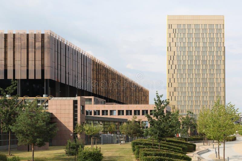 Hof van Justitie van de Europese Unie in Kirchberg, Luxemburg stock foto