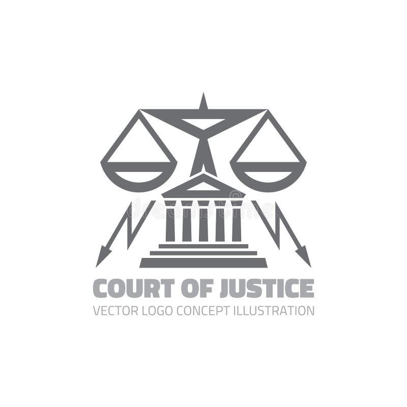 Hof van Justitie - de vectorillustratie van het embleemconcept in klassieke grafische lijnstijl Het pictogram van het wetsembleem royalty-vrije illustratie