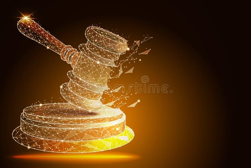 Hof, vonnis, bod, veilingsconcepten Rechtershamer, veilingshamer Vector illustratie stock illustratie