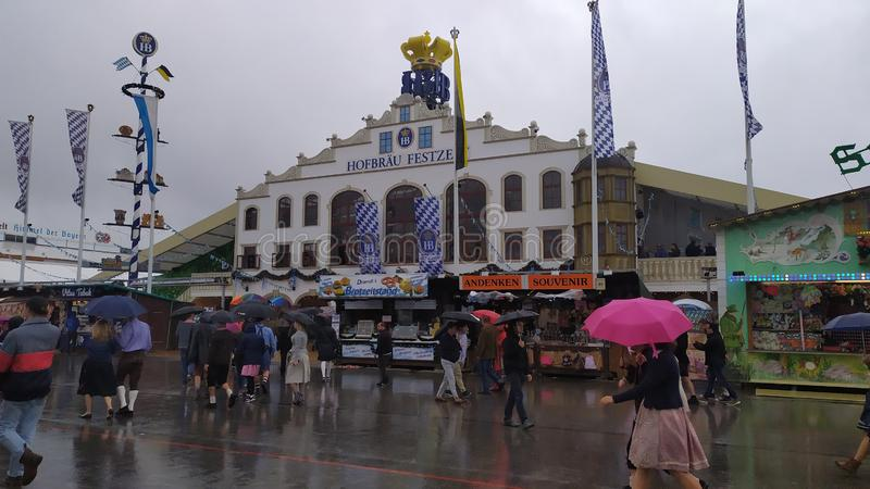 Hofbrau festzelt tent in Oktoberfest 2019 in Theresienwiese area, Munich, Germany. Munich, Germany, september 23, 2019: Hofbrau festzelt tent in Oktoberfest 2019 royalty free stock photos