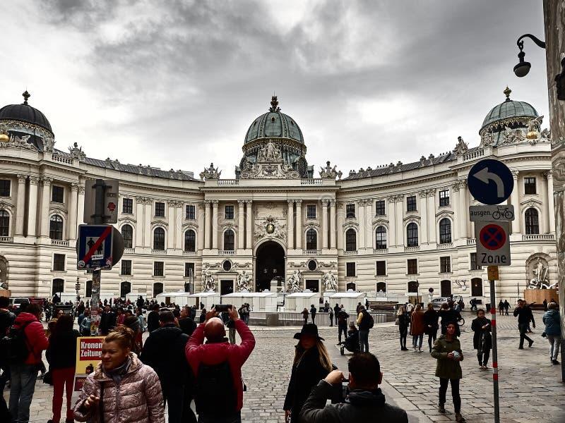 Hofburg宫殿的看法在维也纳市中心 库存图片
