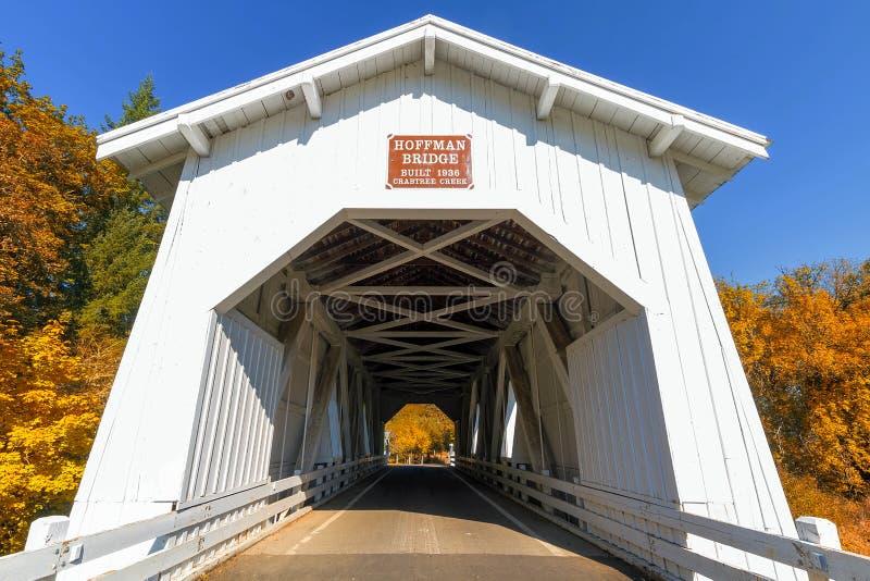 Hoffman-Brücke im Herbst lizenzfreies stockbild