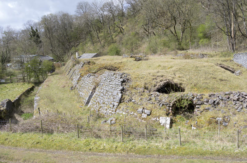 Hoffmann Kiln at Mealbank Quarry, Ingleton. Disused limestone quarry with Hoffmann Kiln stock photo