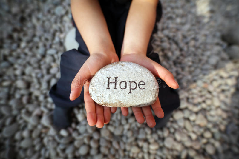 Hoffnung eines Kindes stockbild
