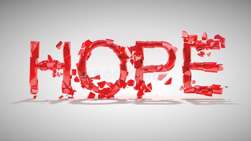 Hoffnung ist verloren. Wortzerstörung vektor abbildung