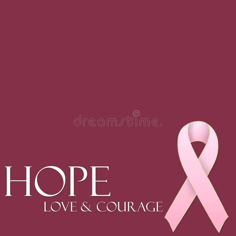 Hoffnung-Liebe u. Mut-rosafarbener Farbband-Hintergrund lizenzfreie stockfotografie